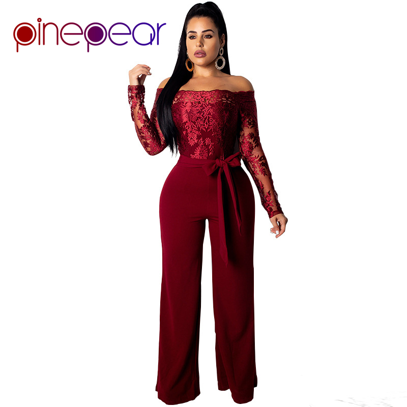 2863bb44446 PinePear New 2019 Royal Blub Elegant Off Shoulder Floral Embroidery Lace  Jumpsuit Women Sheer Long Sleeve Wide Leg Pants Romper-in Jumpsuits from  Women s ...