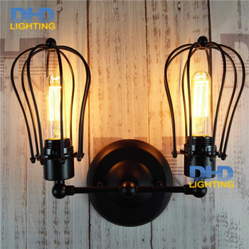 American Industrial Iron Wall Sconce Loft Black Corridor Wall Light Vintage Led Wall Lamp double heads free shipping