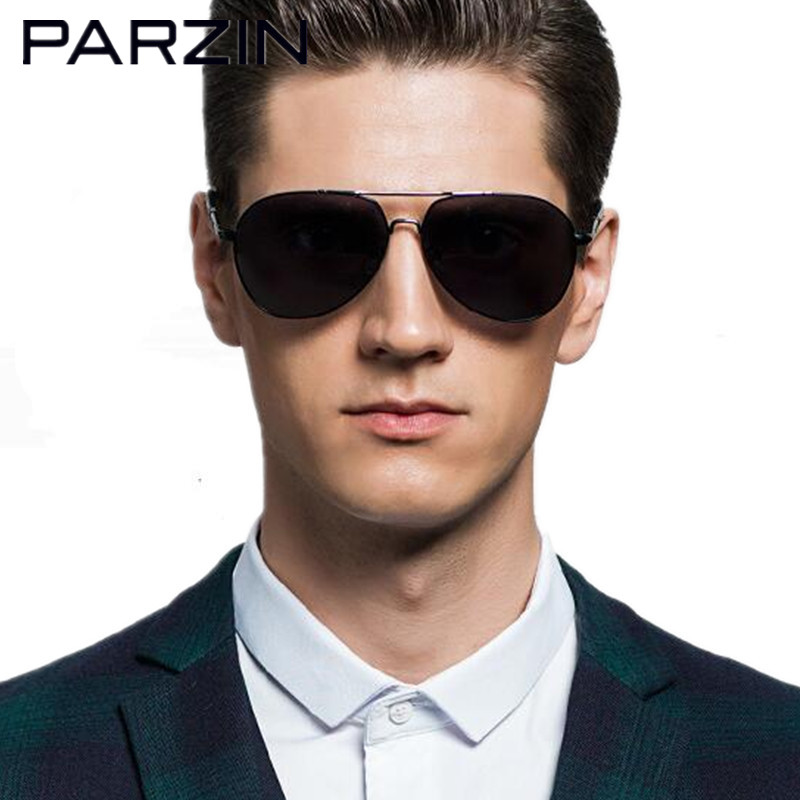Parzin Aviator Sunglasses Men Polarized Male Sun Glasses Brand Designer Shades Black