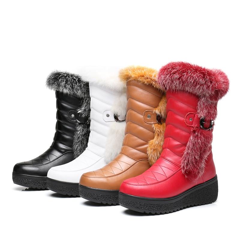 Haute Coins Qualité mollet En rouge Rond Chaussures Noir Mi Véritable Bottes Cuir Femmes Lapin 2017 Cheveux Bout Timetang blanc Nouvelle jaune D'hiver De xgaavq