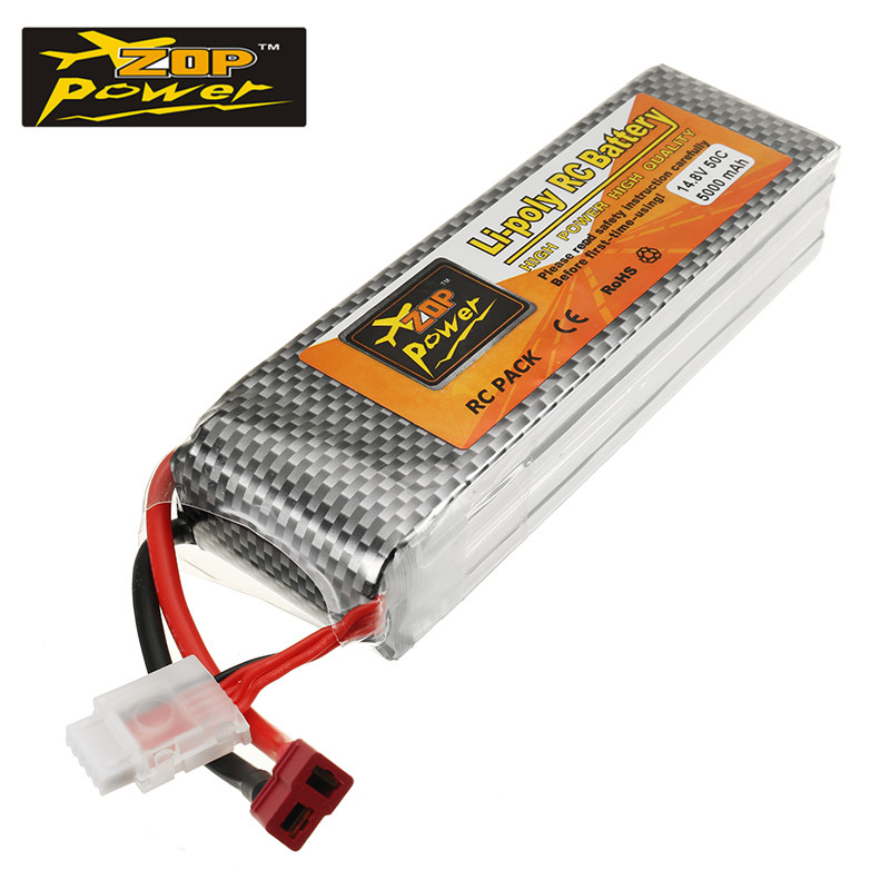 ZOP Power 14.8V 5000mah 50C 4S Lithium Rechargeable Lipo Battery T Plug Connector For RC Models Helicopter Quadcopter Power Accs