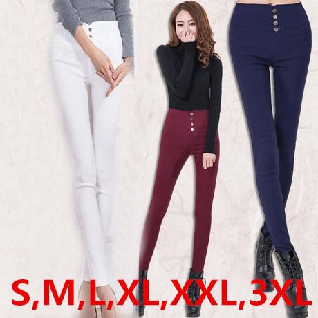 2016 Plus Size Mulheres Leggings Lápis Calças de Algodão Elástico de Cintura Alta Skinny Casual Senhora Calças S ~ 3 XXXL Branco, azul, Preto, Vermelho