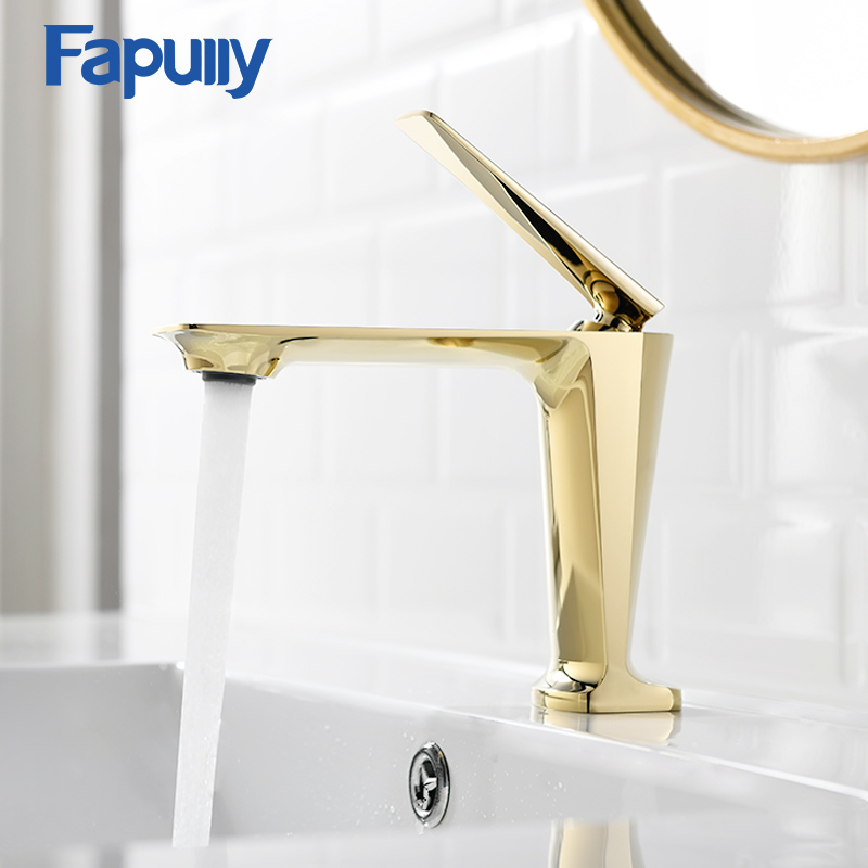 Fapully Basin Faucets Single Handle Tap Gold Black Hot and Cold Water Ceramic Spool Bathroom Mixer Brass Sink Crane Taps 1091
