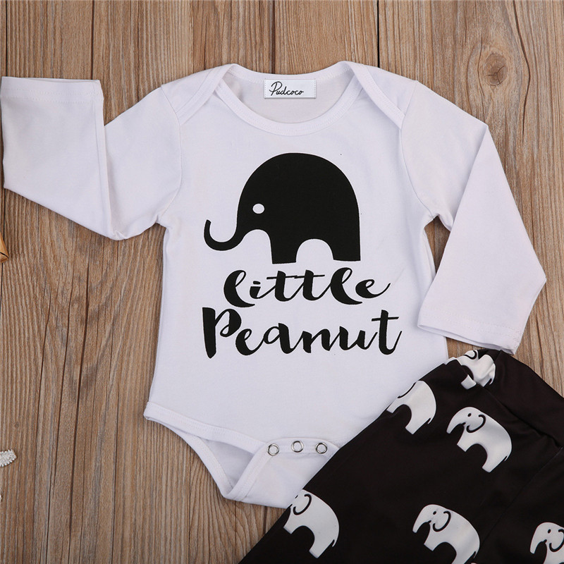 0 to 24M Cute Infant Baby Boys Girls Clothes Elephant Printed Long Sleeve Bodysuit+ Pants Legging 2pcs Outfits Baby Clothing Set