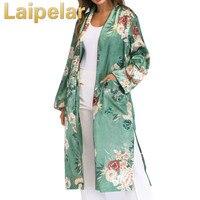 Vintage Plus Size Kimono Cardigan Women Retro Floral Print Long Kimono Jacket Long Sleeve Boho Cover Ups Maxi Shawl Summer Tops