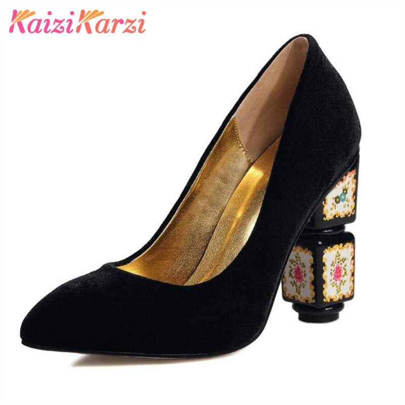 KaiziKarzi Fashion Brand Shoes Women Real Leather Pointed Toe Pumps Women Thick High Flower Heel Slip On Party Pumps Size 34-43 women s fashion pointed toe elegant women pumps high heels flower embroider silk super high heel 9cm black green slip on shoes