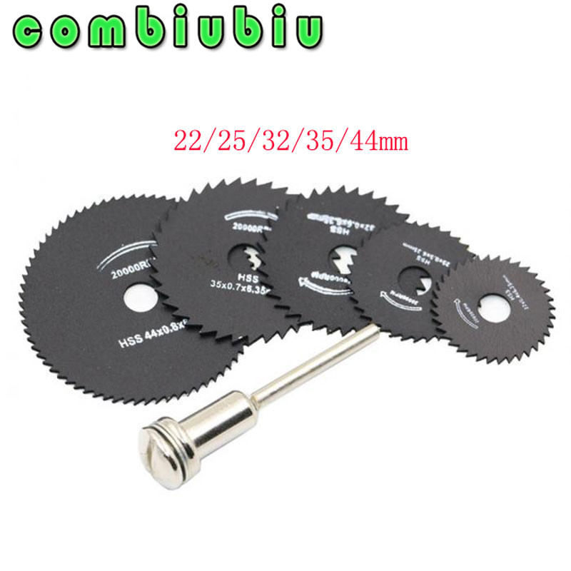 5Pcs 22/25/32/35/44mm HSS Saw Blades For Metal Dremel Rotary Tool Cutting Discs Wheel + 1 Mandrel