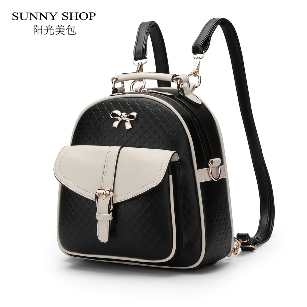 SUNNY SHOP Fresh Women Backpack Brand Designer PU Leather Backpack bagpack Cute School Bags For Teenagers Girls Fashion Plaid womens fashion cute girls sequins backpack paillette leisure school bookbags leather backpack ladies school bags for teenagers