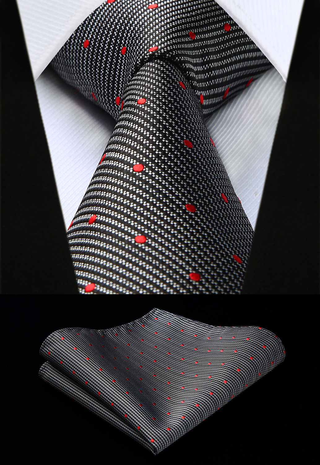 Party Wedding Classic Pocket Square Tie Woven Men Tie Fashion Black Red Polka Dot Necktie Handkerchief Set#TD610A8S