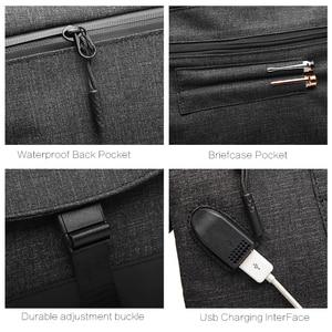 Image 5 - Men Canvas Detachable Messenger Bags High Quality Waterproof Shoulder Bag + Briefcase For Business Travel Crossbody Bag