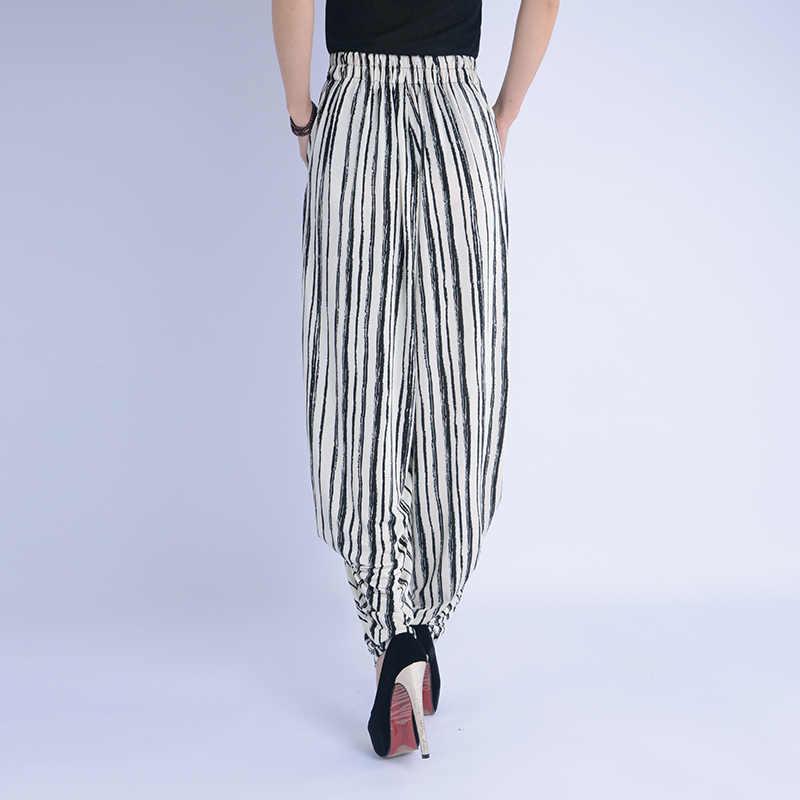 Zomer runway leisure harembroek glare hoge taille losse gestreepte wijde pijpen lady kleding afdrukken retro broek size M-3XL