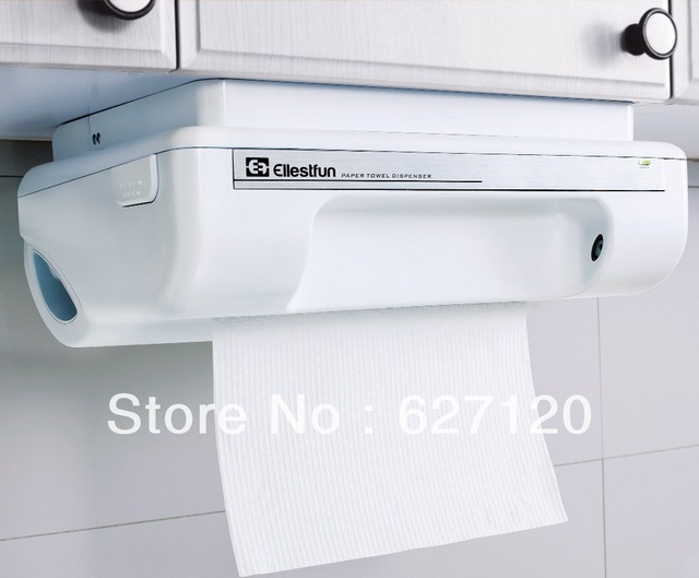 automatic paper towel dispenser for kitchen cabinet colors small kitchens geniecut infrared sensor activated handsfree touchless mounted under