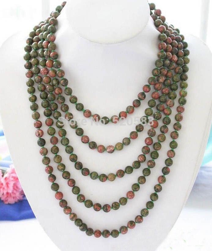 """Long 100 """"Naturel 8mm Unakite vert rouge pierre collier de perles"""