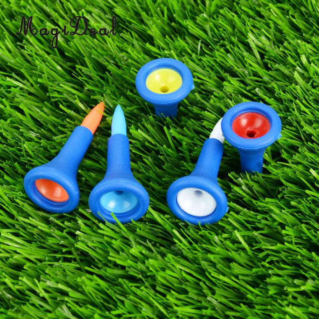 MagiDeal Professional 5 Pieces/Set Durable Soft Rubber Cushion Top Golf Tees Random Color Short Golf Tees Replacement Access