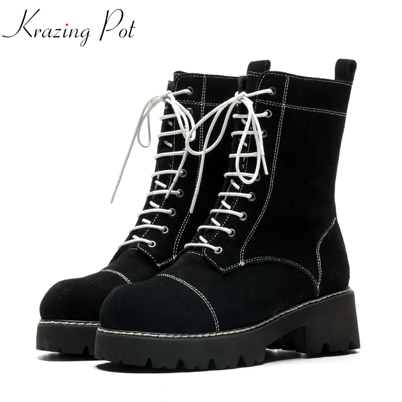 Krazing Pot new cow suede round toe lace up motocycle boots superstar personality office lady cross-tied winter ankle boots L7f7 krazing pot winter kid suede cow leather patch work high heel basic boots winter zipper round toe office lady ankle boots l12