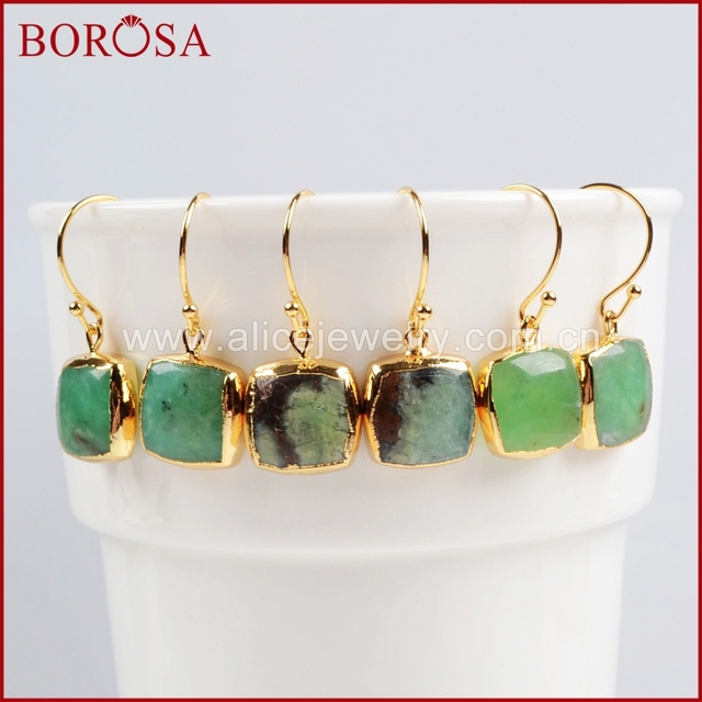 Borosa Natural Chrysoprase Earrings Gold Color Square Green Chalcedony 381