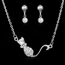 Vintage Style Earrings Pendant Necklace Set Women Trendy white Gold Plated Rhinestone Animal Wedding Engagement Jewelry Sets