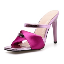 woman sandals Womens Slippers outside shoes light madam lady thin heels super high rome summer slides silk square