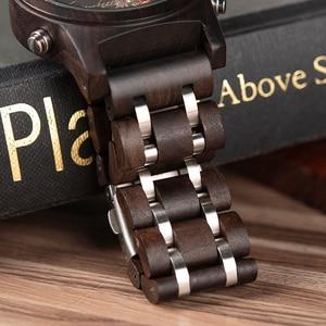 Image 5 - BOBO BIRD Mechanical Wood Watch Men Women Automatic Wristwatch Wooden Metal Balance Wheel Clock Relogio J Q27