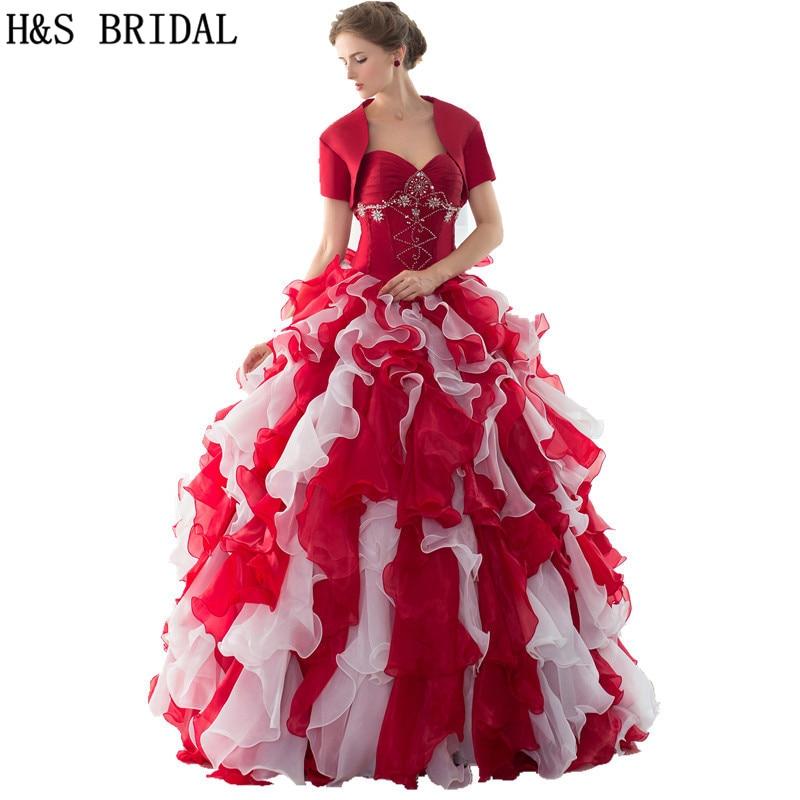 6a33e7965d Amor rojo blanco bola Vestidos de quinceañera con chaqueta perlas Cuentas  volantes dulce 16 Bola vestidos baratos quinceanera vestidos