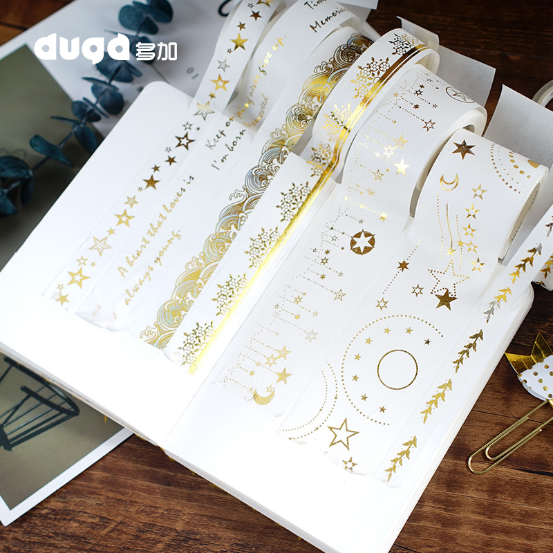 Gold Foil Washi Tape Adhesive Scrapbooking Christmas Party  Decoration Tape Kawaii Photo Album MaskingTape