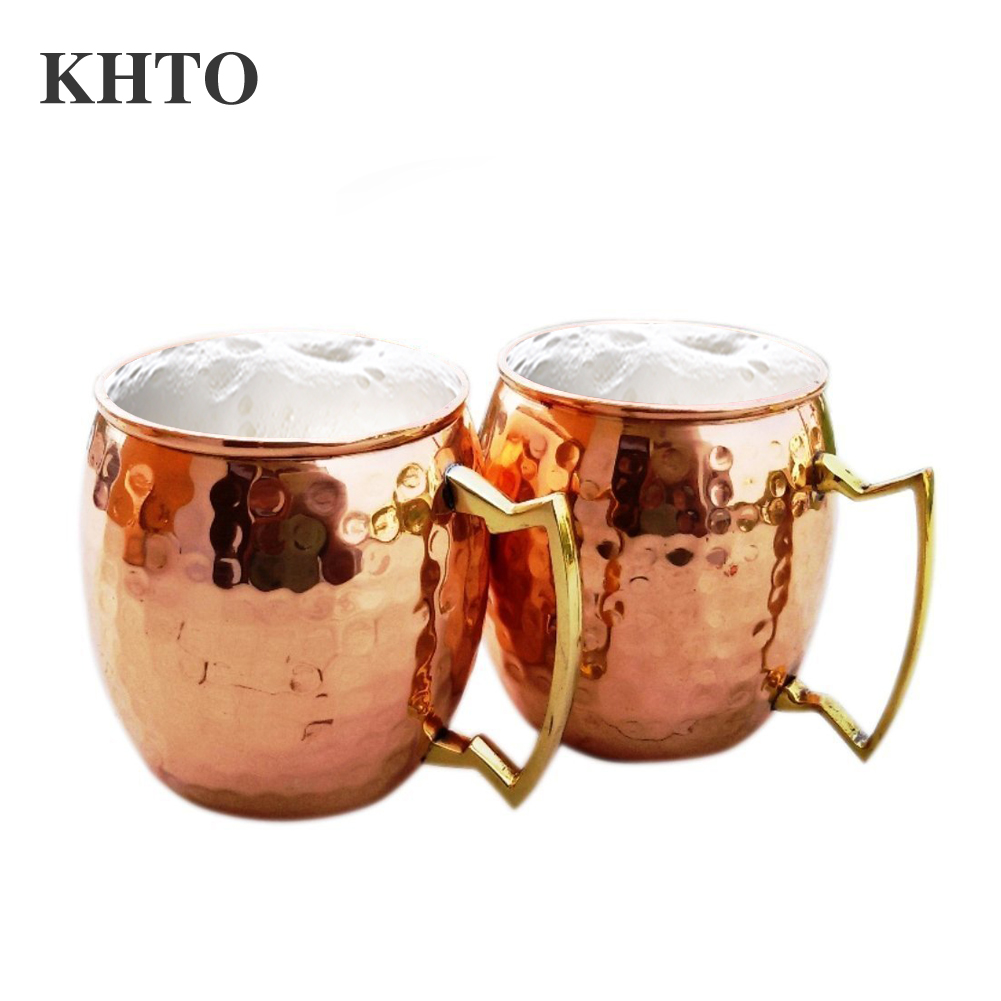 khto moscow mule handcrafted hammered pure copper mugs cup 100 pure copper with brass handle 16 oz 2pcsset - Copper Mule Mugs