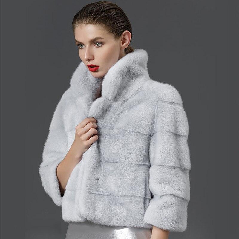 M Col Réel S Office D'hiver De Court camel Fansty Mandarin Manteau Mince Femmes Y Perte Pelt Lady Vison Clair Beige 2019 Plissée gris Fourrure Complet pqzrpR7n