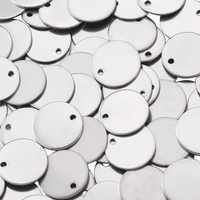 500 pièces 13x1mm 304 en acier inoxydable blanc estampage étiquette bijoux collier boucles d'oreilles Bracelet bricolage pendentifs chauds, plat rond, trou: 1mm