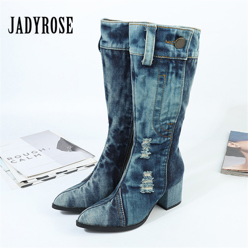 Jady Rose Pointed Toe Women High Boots Blue Denim Botas Mujer 6CM Chunky High Heel Autumn Botte Femme Jean Martin Boots цена