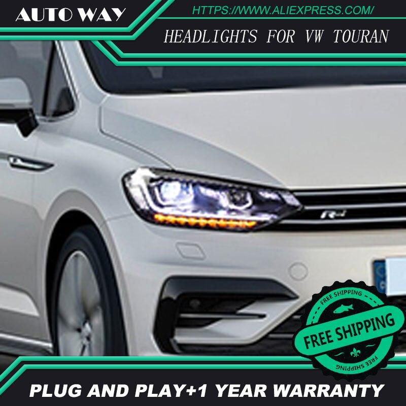 Автомобиль голове стиль лампы для VW Touran фары Touran 2016 2017 светодиодный фар DRL Объектив Двойной Луч би- ксеноновые
