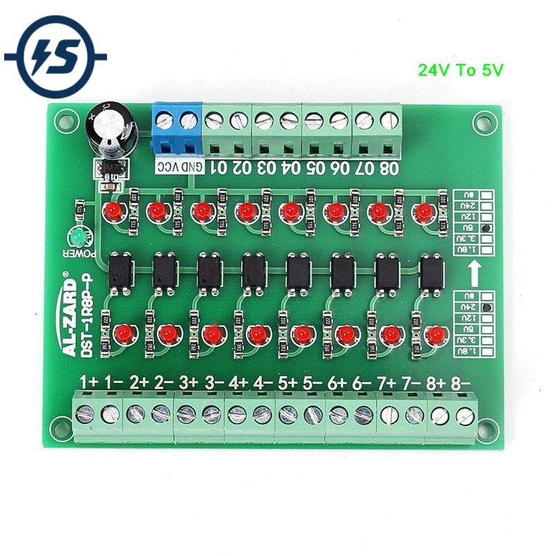 24 v A 5 v 8-Channel 8bit Livello di Modulo di Isolamento Fotoelettrico Convertitore di Tensione di Uscita PNP PLC Convertitore di Segnale modulo adattatore