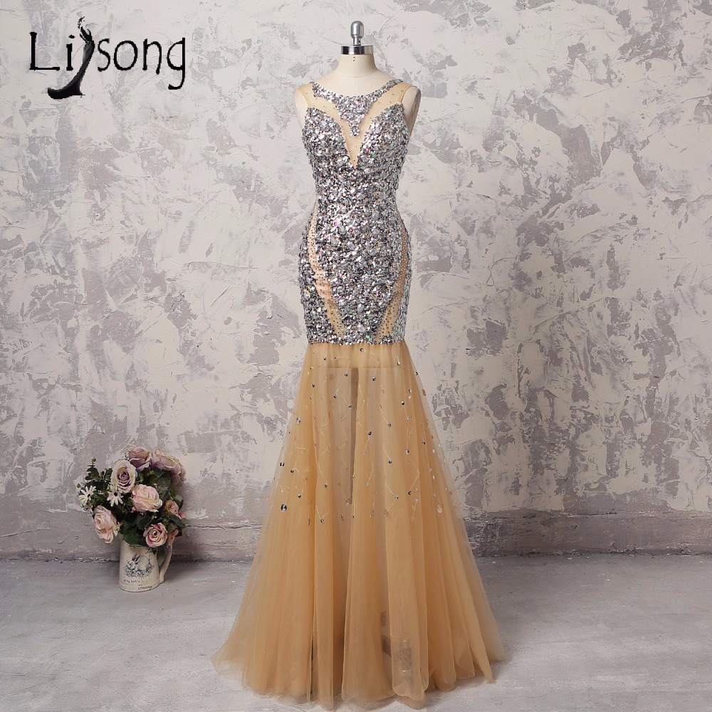 Aso Ebi Luxury Long Mermaid   Prom     Dresses   Champagne Crystal Sequined   Prom   Gowns Backless Sexy Formal Party   Dress   Abendkleider