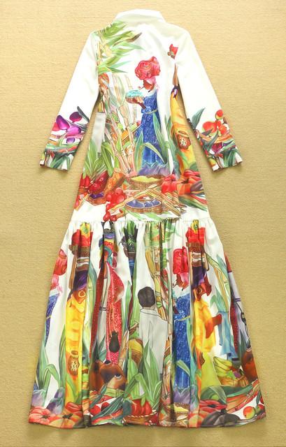 Collar Maxi Dress Women's Long Sleeve Retro Art