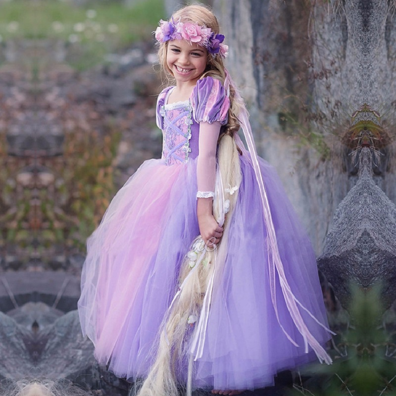 Halloween Carnival Sleeping Beauty Dress Girls Easter Party Cinderella Princess Party Dress Rapunzel Costume For Kids Children