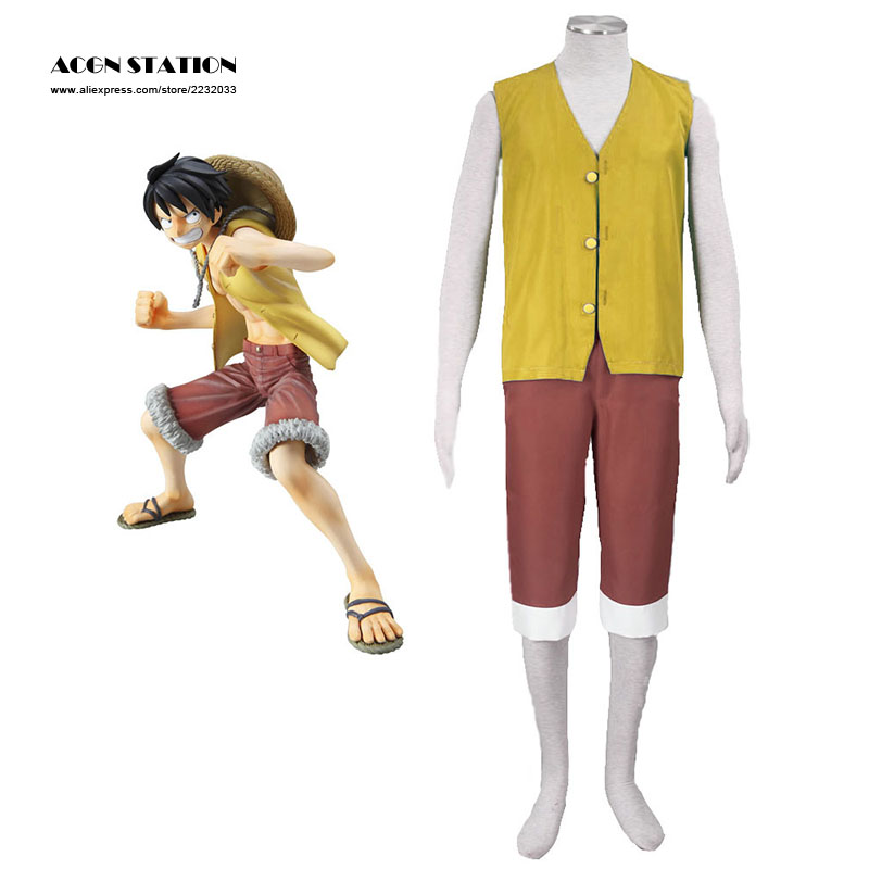 2018 Customized Free Shipping Top Selling Yellow One Piece Luffy Adult Kid Cosplay Costume Men Clothing For Halloween Christmas