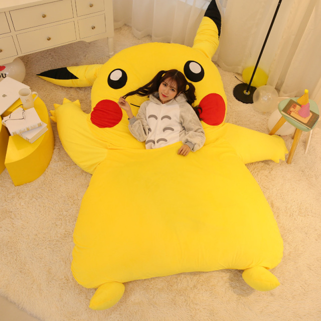 Japan Anime Pikachu Sleeping Bag Pokemon Cartoon Mattress Giant Totoro Double Bed Cushion Plush Memory Foam