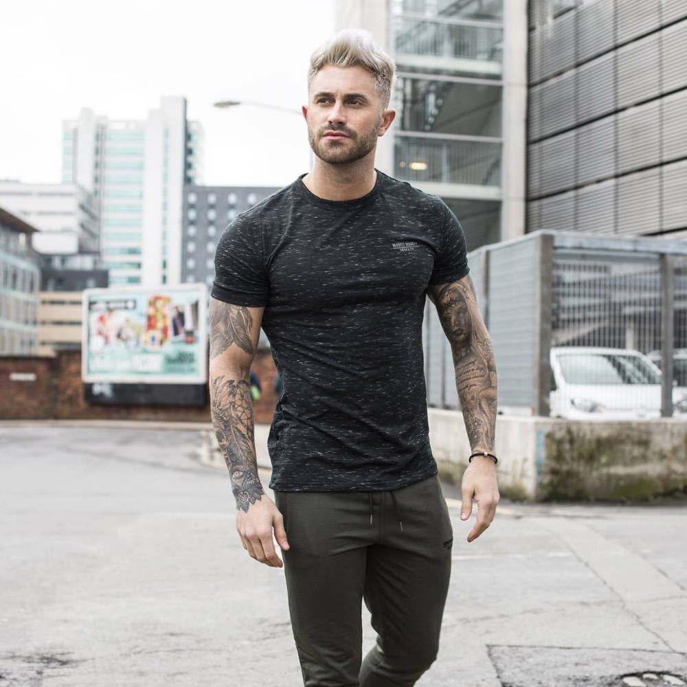 2018 new brand clothing gyms tight t-shirt mens fitness t-shirts homme gyms t shirt men  ...