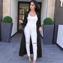 2016 Chic And Modern Long Trench Coat Women's Solid Long Sleeved Cardigan Outwear Coat with Belt Plus Size Lady Long Duster Coat
