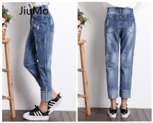 JiuMo KZ-AD01 Casual Denim Pant High Waist Summer Jeans For Women Pants Top Stretch High Waist