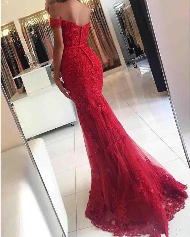 2019 Red Mermaid Prom Evening Dresses Long Off Shoulder Beaded Crystals Applique Lace Floor Length Formal Evening Party Gown