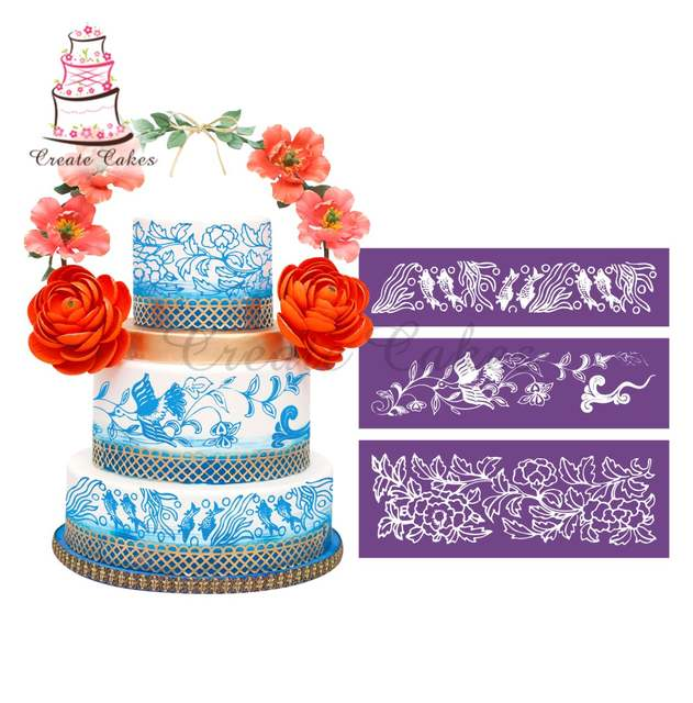 Online Shop Leisurely Scenery Fish And Crane Stencil For Cake Design