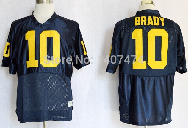 new style 81823 17802 Excellent Quality Michigan Wolverines #10 Tom Brady blue ...
