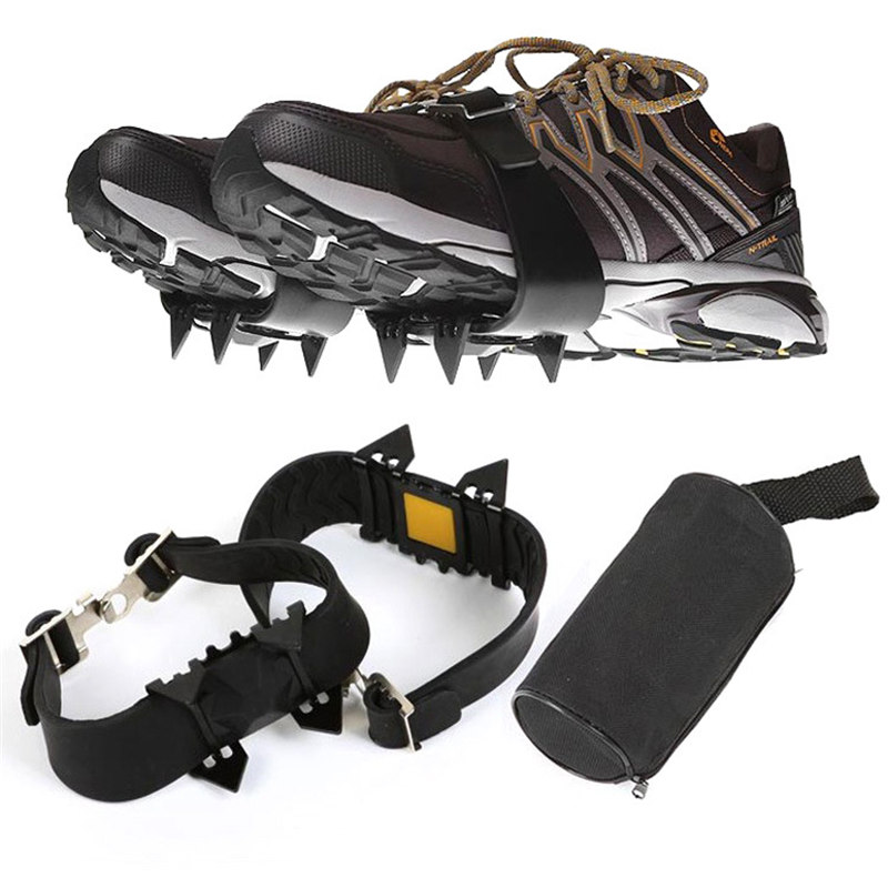 2pcs 4-Teeth Sports Anti-Slip Ice Snow Gripper Cleats Shoe Boot Grips Crampon Chain Spike Snow For Hiking Climbing