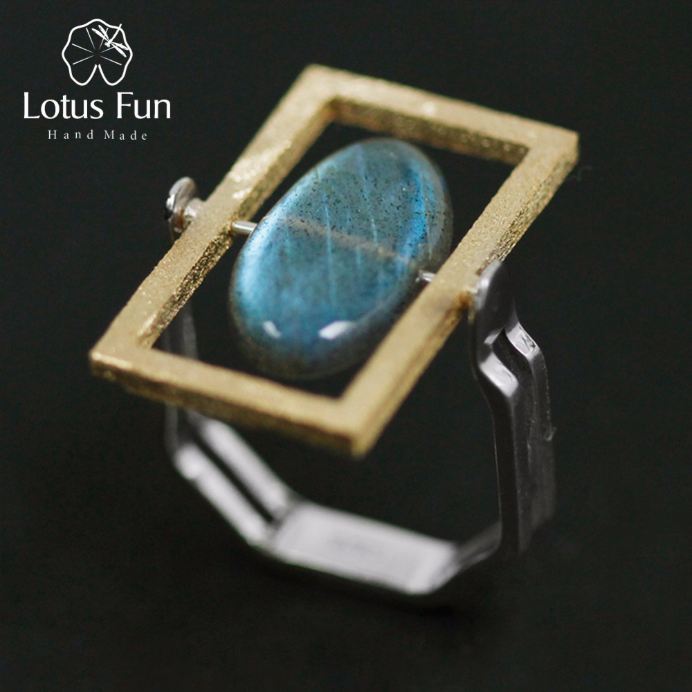 Lotus Fun Real 925 Sterling Silver Natural Labradorite Stone Creative Handmade Fine Jewelry Rotatable Ring For Women Bijoux