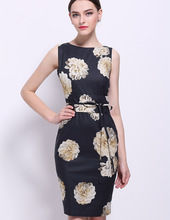 Women Dress 3D Flower Print Sheath Sleeveless Work Dresses A1168