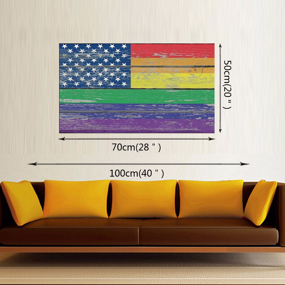 1 Panel poster HD printed painting Retro American flag canvas print art home decor wall art pictures for living room Framed in Painting Calligraphy from Home Garden