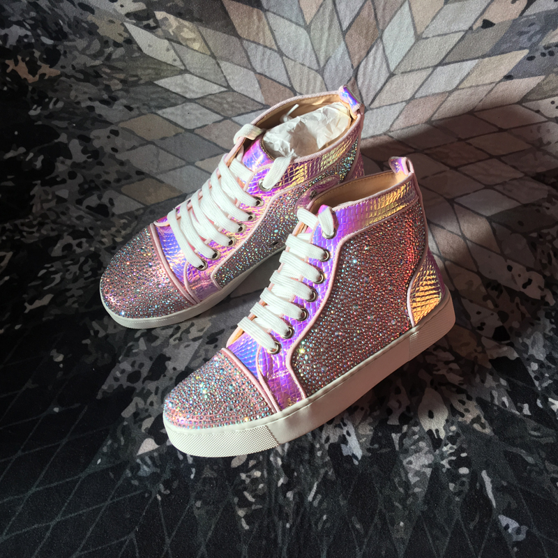 Chaussures Taille Swyivy Serpent Pourpre forme Sneakers 44 Femme Plat 2019 Dame Plate Bling Rhinesotne Cuir High Top Casual En Printemps WBoexrdC