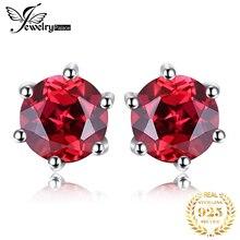 цены на VVS Red Round Gemstone Jewelry Natural Garnet Earrings Stud Genuine 925 Sterling Silver Jewelry 2015 Brand New High Quality  в интернет-магазинах