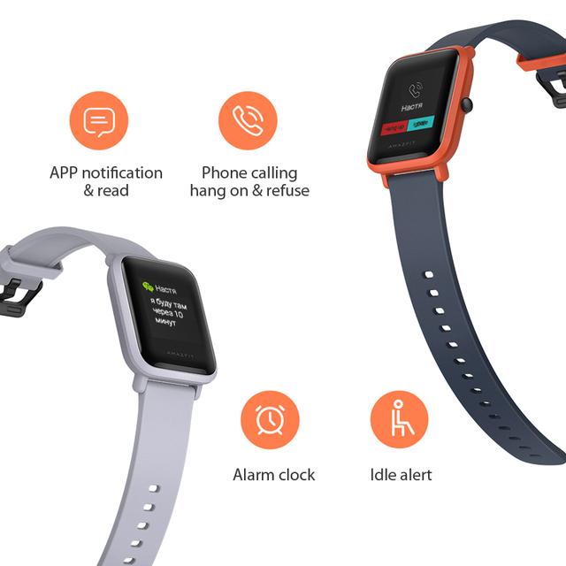 Huami Amazfit BIP inteligentny zegarek angielski/hiszpański/rosyjski GPS SmartWatch Android iOS Heart Rate Monitor 45 dni żywotność baterii IP68