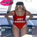 CCB047 Apenas casado Alta corte carta imprimir one piece swimsuit mulheres biquini sexy onepiece terno biquíni
